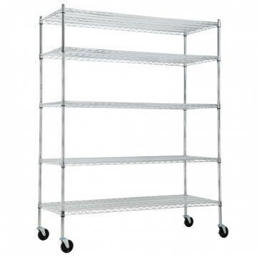 "Silver Kitchen Basket Rolling Cart Wire Storage Shelves with Wheels 11"" Deep"
